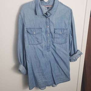 Half button up chambray top